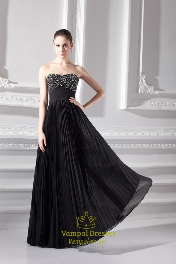 Long Black Beaded Evening Dresses,Black Prom Gowns With Wrinkle ...