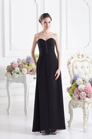 Black Sweetheart Strapless Bridesmaid Dress,Black Bridesmaid Dresses With Colored Sash