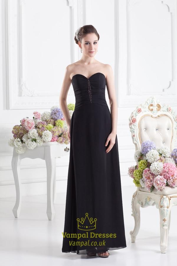 Black Sweetheart Strapless Bridesmaid Dress,Black Bridesmaid Dresses ...