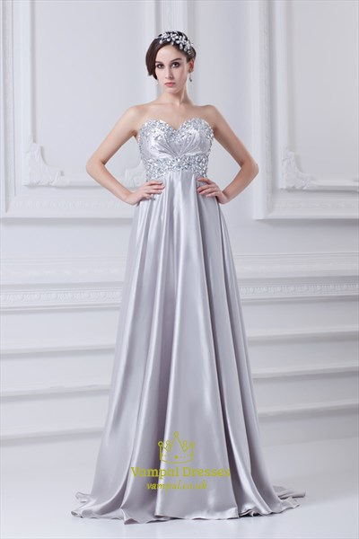Silver A Line Prom Dress With Beaded Top,Prom Dresses With Beaded Bodice