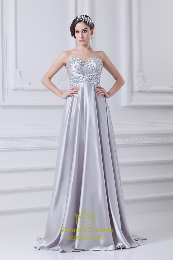 Silver A Line Prom Dress With Beaded Top,Prom Dresses With Beaded ...