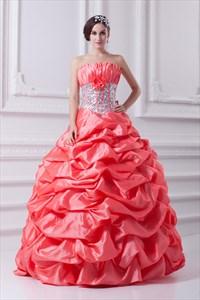 Salmon Quinceanera Dresses 2021,Bright Coral Quinceanera Dresses 2021