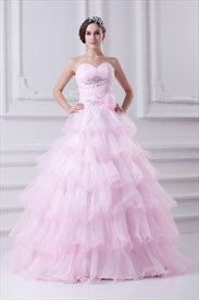 Light Pink Quinceanera Dresses 2019,Pink Ball Gown Prom Dresses For Girls