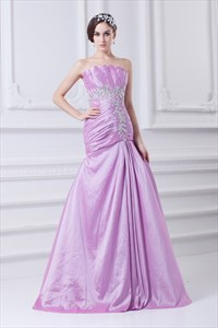 Long Lilac Prom Dresses ,Lilac Formal Evening Dress With Ruffle Top