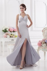 Silver Sequin Halter Prom Dress,Halter Neck Prom Dress Long With Open Back