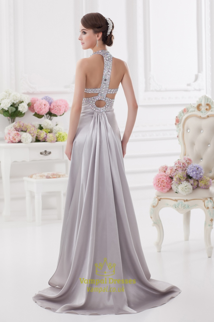 Silver Sequin Halter Prom Dress 8a3be4475