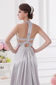 Silver Sequin Halter Prom Dress