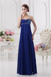 Royal Blue Bridesmaid Dresses With Pink Flowers,Strapless Silk Chiffon Bridesmaid Dresses