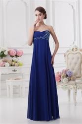 Royal Blue Bridesmaid Dresses With Pink Flowers,Strapless Silk Chiffon Bridesmaid Dresses