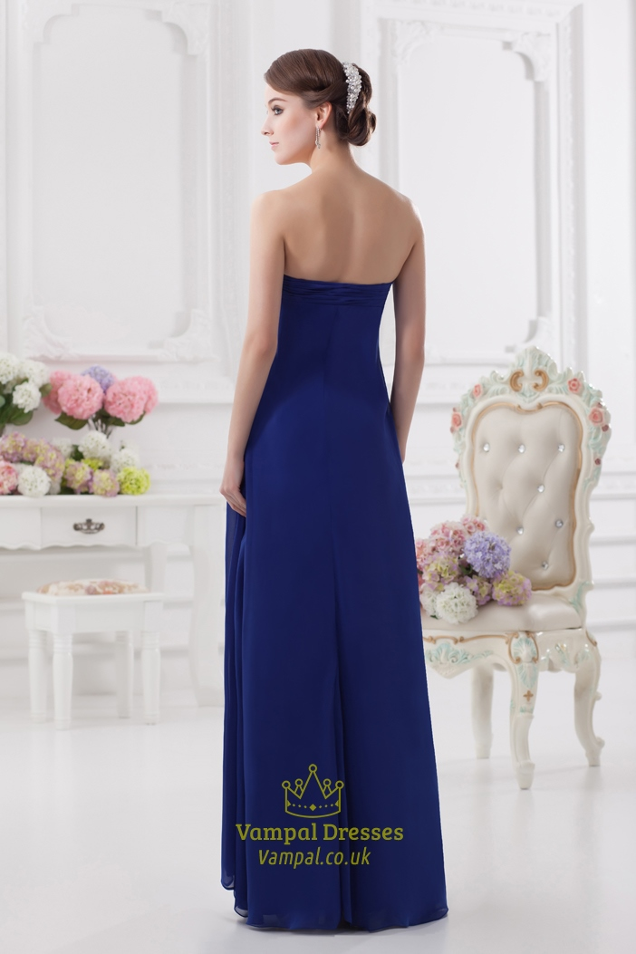 Royal Blue Bridesmaid Dresses With Pink Flowers Strapless