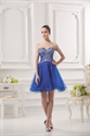 Royal Blue Bubble Cocktail Dress With Rhinestone Pin,Short Dress With Beaded Top