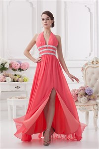 Coral Halter Neck Maxi Dress,Halter Long Prom Dresses With Slits In The Front