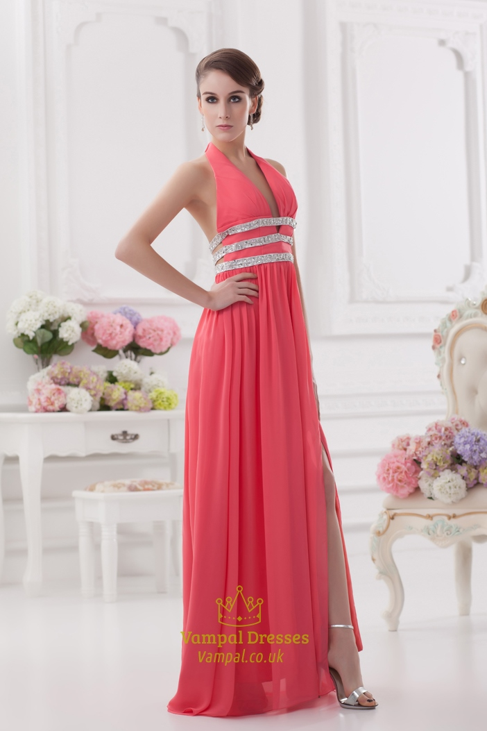Coral Halter Neck Maxi Dress Halter Long Prom Dresses With