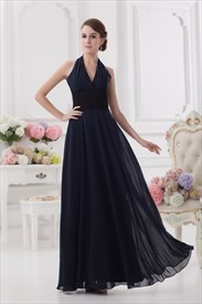 Navy Blue Halter Bridesmaid Dress,Navy Blue Dresses For Bridesmaids