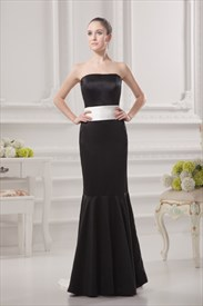 Long Black Mermaid Prom Dresses,Black Dress With White Sash Belt