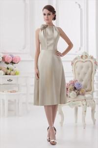 Short Silver Halter Dress,Silver Halter Neck Bridesmaid Dress