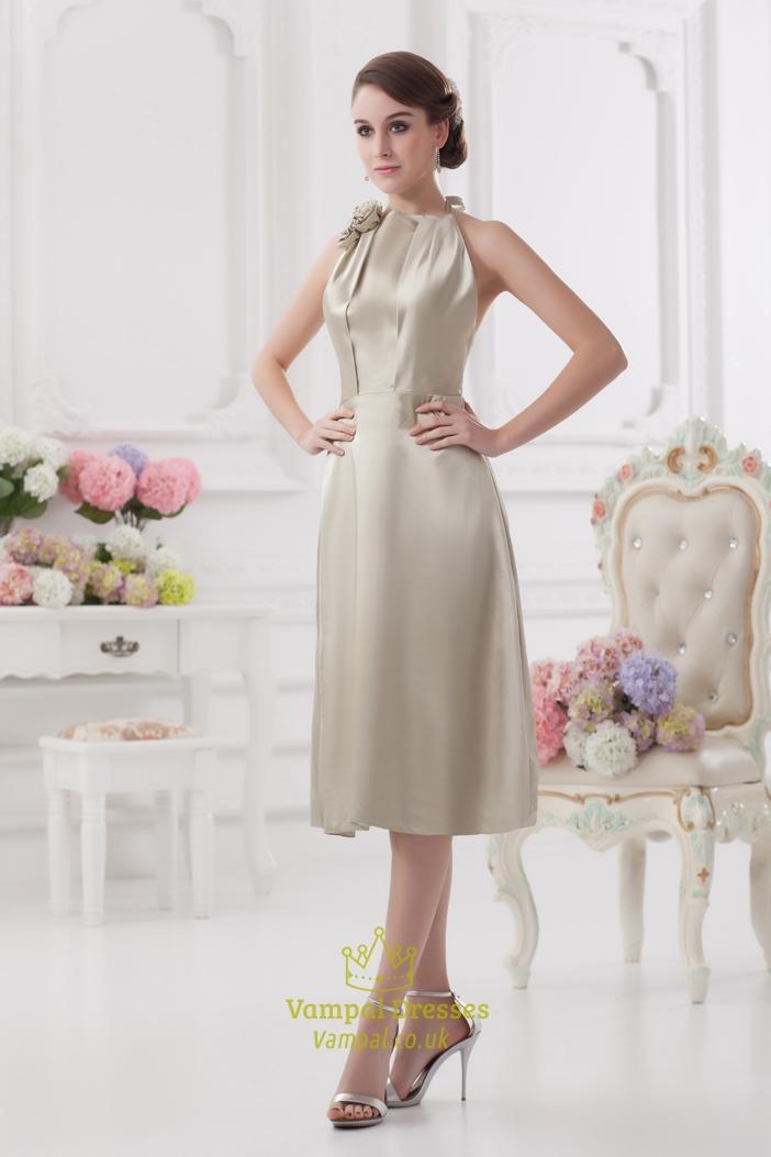 Short silver halter dress silver halter neck bridesmaid for Short halter wedding dress