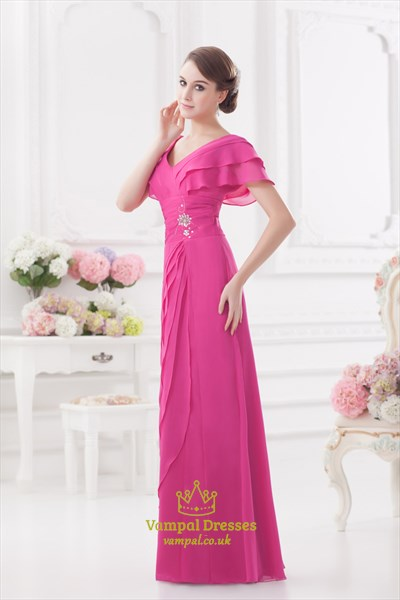 Hot Pink Mother Of The Bride Dresses,Pink Prom Dresses With Sleeves