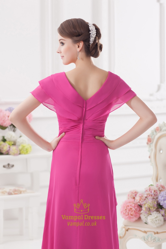 Hot Pink Mother Of The Bride Dresses,Pink Prom Dresses With Sleeves ...