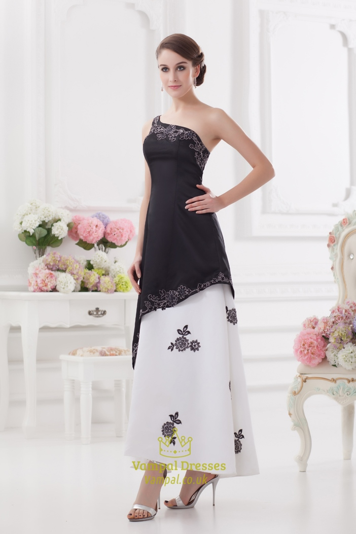 One Shoulder Black And White Prom Dress Black And White
