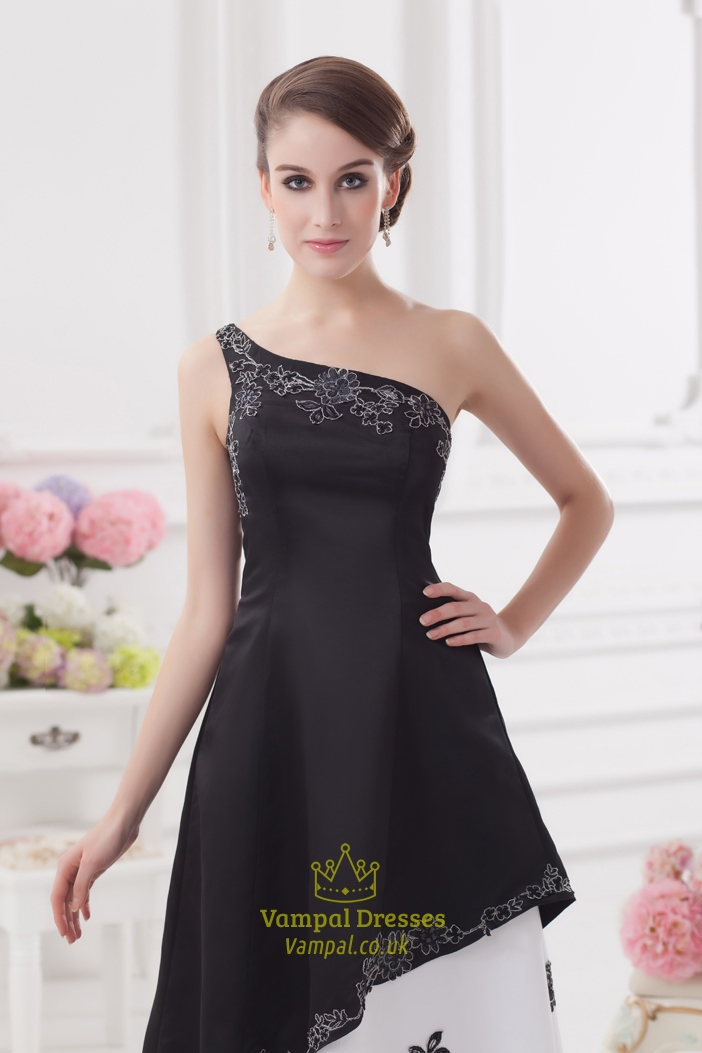 One Shoulder Black And White Prom Dressblack And White Embroidered