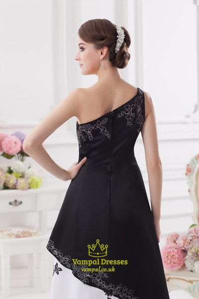 One Shoulder Black And White Prom Dress,Black And White Embroidered Dress