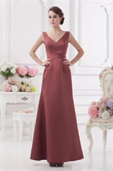 Maroon Dresses For Prom,V Neck A Line Bridesmaid Dress