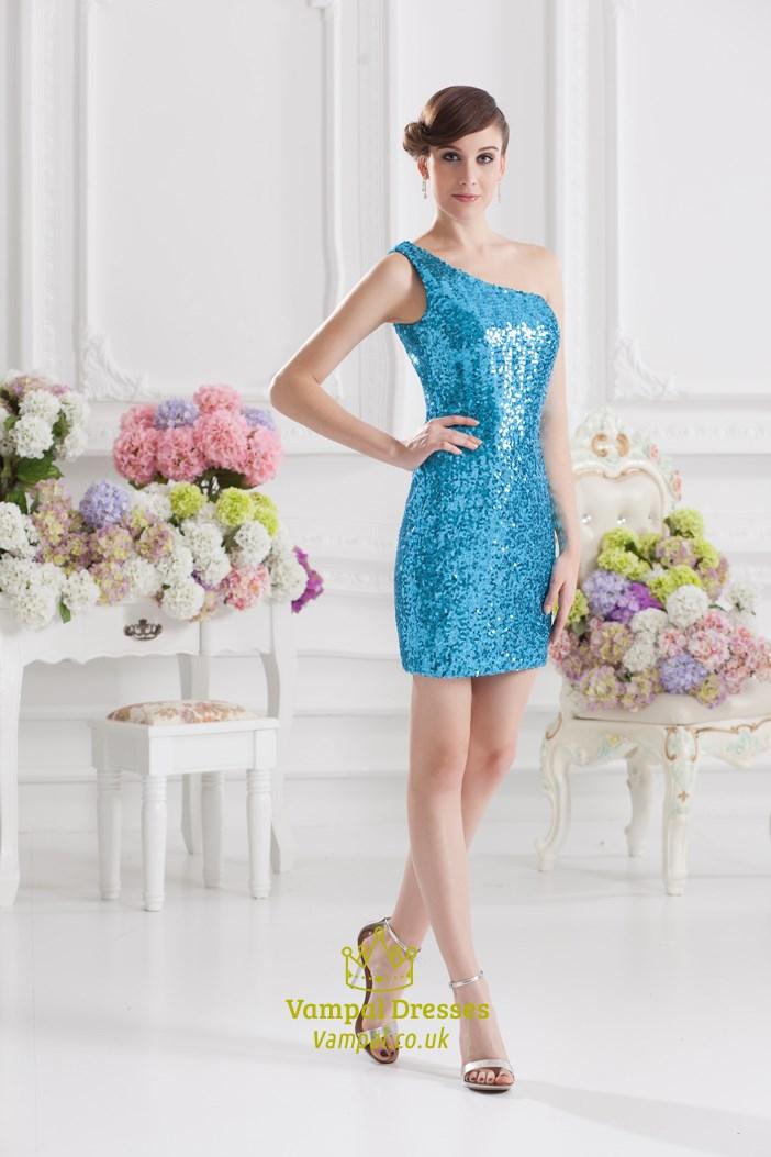 Aqua Blue Sequin One Shoulder Dress,Short One Shoulder Sequin Party Dress By Vampal