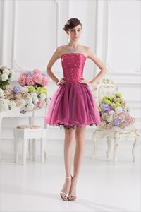 Black Cocktail Dress With Hot Pink,Hot Pink Cocktail Dress