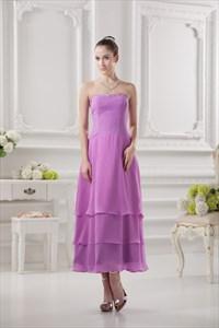 Short Light Purple Bridesmaids Dresses,Short Dresses With Ruffles Bottom