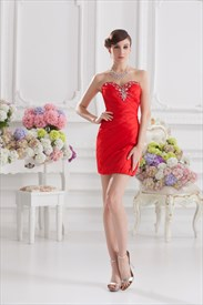 Red Sweet 16 Dresses Short,Short Red Sweetheart Prom Dress