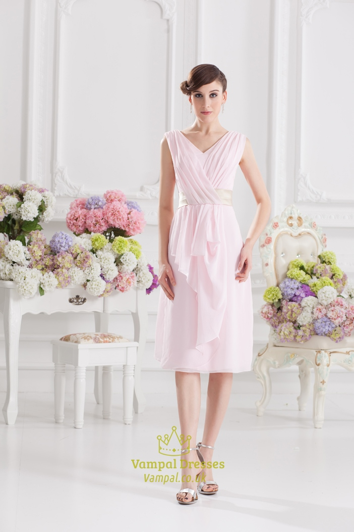 Light Pink Bridesmaid DressesLight Dresses With Cap SleevesShort