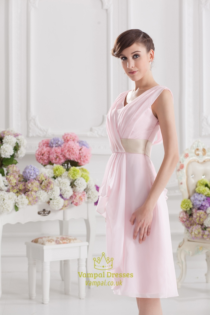Light Pink Bridesmaid Dresses With Cap Sleeves,Short Light Pink ...