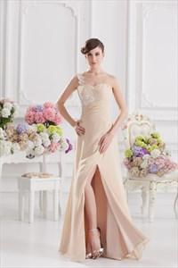 One Shoulder Embellished Chiffon Designer Dress In Cream,Cream One Shoulder Chiffon Dress