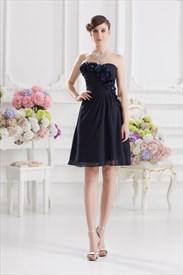 Short Navy Blue Formal Dresses,Short Navy Blue Chiffon Dress With Flowers