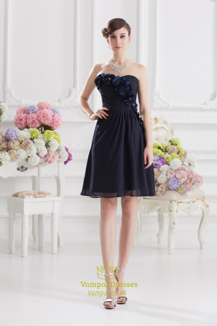 Short Navy Blue Formal Dresses,Short Navy Blue Chiffon Dress With ...