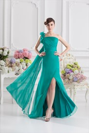 Grass Green One Shoulder Party Dresses With Split In The Front