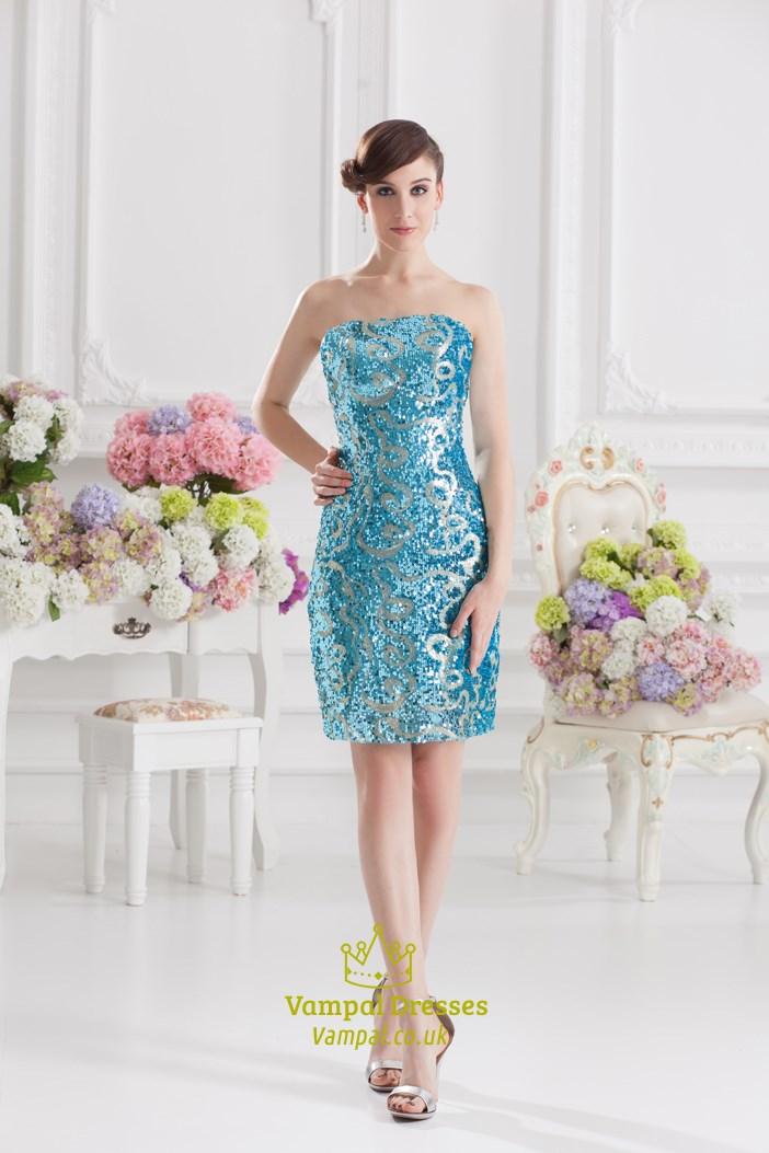 Aqua Blue Sequin Dress,Short Aqua Blue Dress For Girls
