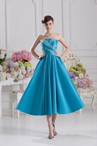 Strapless Aqua Blue Prom Dresses,Blue Party Dresses For Women