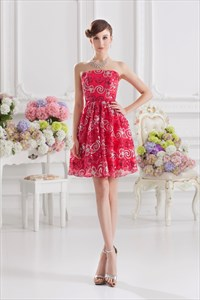 Red Sequin Prom Dress 2021,Short Red Homecoming Dresses