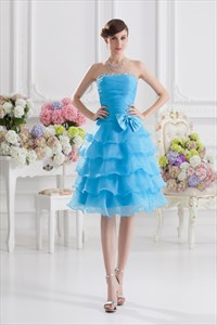 Blue Cocktail Dresses For Women,Short Strapless Dresses For Juniors