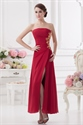 Long Red Strapless Prom Dresses,Red Bridesmaid Dresses Long With Slits