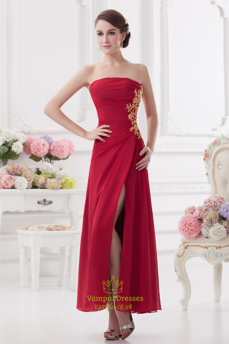 Long Red Strapless Prom Dresses,Red Bridesmaid Dresses Long With ...