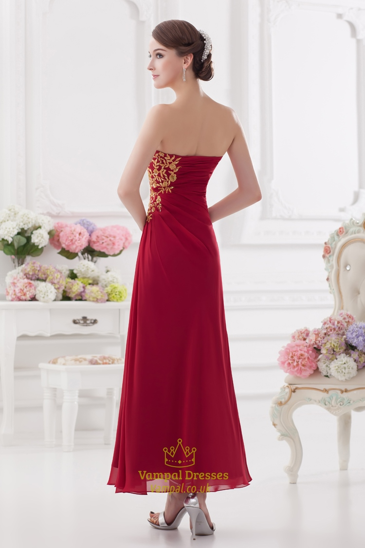 Long Red Strapless Prom Dresses,Red Bridesmaid Dresses