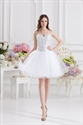 White Cocktail Dresses For Bachelorette Party,White Crystal Prom Dress