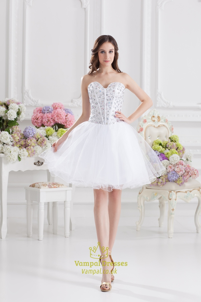 White Cocktail Dresses For Bachelorette PartyWhite Crystal Prom Dress