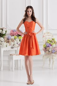 Short Orange Bridesmaid Dresses,Orange Party Dresses For Juniors