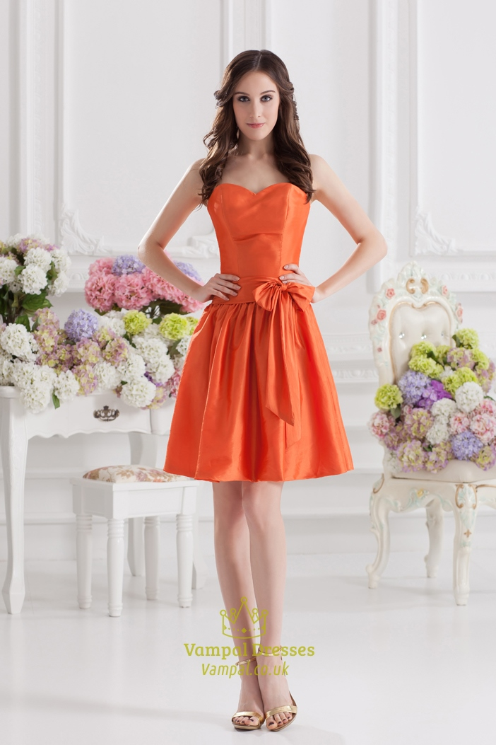 Short Orange Bridesmaid Dresses,Orange Party Dresses For Juniors ...