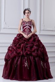 Burgundy Quinceanera Dresses With Straps And Embroidery,Dark Red Quinceanera Dresses 2019