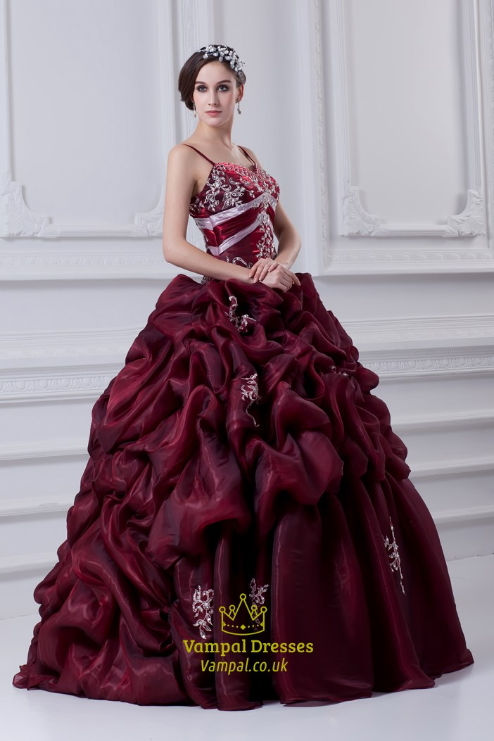 38e2a4999d Burgundy Quinceanera Dresses With Straps And Embroidery